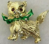 Vintage Pin Brooch Gold Tone Christmas Kitten Cat Green Ribbon  Rhinestones 1""