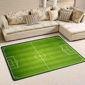 Green Field Football Fans Area Rug Living Room Bedroom Flannel Floor Mat Carpet