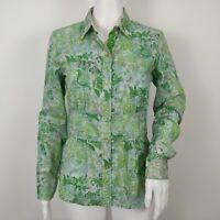 Robert Graham Paisley Button Front Shirt Womens Size Small Green Blue Cotton NEW