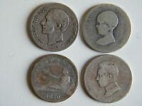 Lote 4 monedas de 2 pesetas 1889, 1889, 1870 y 1905 (Plata)