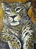 Watercolor Painting Leopard Big Cat Panther Animals Nature ACEO Art