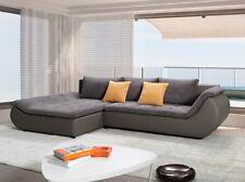 Ecksofa Prato Couch mit Bettfunktion Schlafbett Wohnlandschaft Garnitur XXL grau