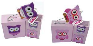 Hannah Hoot Owl Gift Set Pink / Purple Kids Money Box, Pencil Pot, Coat Hook