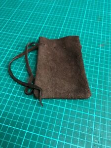 Medieval Larp SCA Pagan Reenactment Brown Leather DRAWSTRING MONEY POUCH BAG