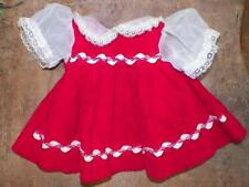 Vintage Doll Dress Red Velveteen White Organza Sleeves Collar Lace Rick Rack