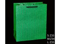 LUXURY LARGE GIFT BAGS  IN GREEN WITH SILVER SHIMMER STRIPE BLACK CORD HANDLE