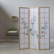 3 fach Paravent Raumteiler Trennwand Bambusmuster natur spanische Wand Holz neu