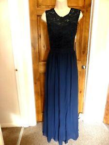 Pretty dark blue chiffon lace detail evening dress from Babyonline size 10
