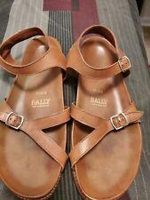 "BALLY Italy ""Solaria"" Men's Adjustable Two-Strap Sandals sz 12 Tan Leather"