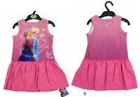 NEW M&S Girls Disney Frozen Elsa Anna Pink Sleeveless Summer Holiday Sun Dress