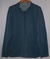 Vintage LL Bean Full Zipper Mens Sweater Jacket L Teal Fleece Coat Teal