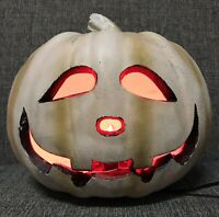 Halloween Pumpkin Jack O Lantern White w/ Red Light Decoration Prop