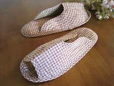 Pretty Red Check Cotton Quilted Soft Flat Shoes Slippers L22