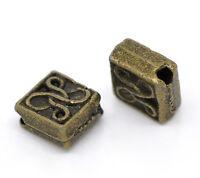 120 Bronzefarben Quadrat Blume Spacer Perlen Beads 5x5mm