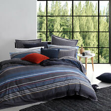 Logan and Mason MIAMI CHARCOAL Queen Size Bed Doona Duvet Quilt Cover Set NEW