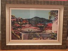"Jonna White Signed Print, Nicely Framed, ""View Toward the Harbor"" St. Thomas"
