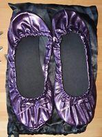Ladies Purple Metallic Elasticated Ballet Flats Party Slippers Pumps Size UK 7