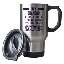 Purple Never Wrong Grandad Funny Gift Idea Silver Travel Mug work 096