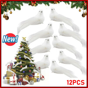 12x Artificial Bird White Feathers Clip on Tree Christmas Feather Birds Decor UK