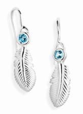 Feder Ohrhänger 1 Paar Ohrringe mit Topas Heartbreaker by Drachenfels LD LF 21