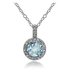Sterling Silver Blue Topaz and White topaz Halo Necklace