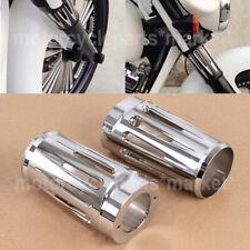 2X Chrome Fork Boot Slider Cover For Harley Road Glide Custom FLTRX Road King