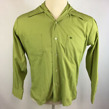 Vintage 50s 60s Loop Collar Retro Atomic Rockabilly Lime Green Shirt Brent Mod
