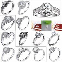 Princess White Sapphire Zircon Wedding Rings For Woman Gift 925 Silver Jewelry