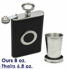 NEW 8 oz Stainless Steel FLASK  Leather Wrapped SS Funnel & Shot Glass Built In