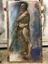 "Male Full Life Size 42""x82"" Original Pastel Painting Signed Art b Artist Man"