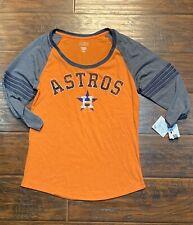 womens houston astros long sleeve orange and gray  t shirt size medium