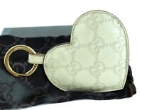 Auth GUCCI GG Beige Leather Heart Motif Key Ring / Holder Key Charm Accessories