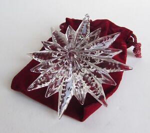 WATERFORD Crystal Christmas ORNAMENT Snow STAR Pierced w/ Enhancer 2012 w/Box