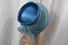 VINTAGE 1960s CHARTER kingfisher blue satin hat JACKIE O style