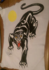"""Vintage  Rare """" BLACK PANTHER TATTOO FLASH """"  Iron-On Transfer  COLOR"""