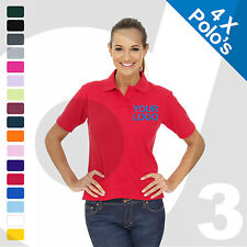 4 X Ladies Personalised Embroidered / Printed Polo Shirts Workwear Text/Logo