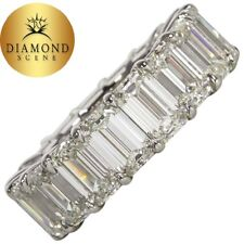 14 Carat Emerald Cut Diamond Platinum Eternity Band Ring