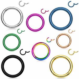 Scharnier Clicker Piercing Segment Ring Septum Universal Nasen Lippen Ohr