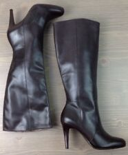 Womens Knee High Boots 6 Talbots Classic Leather Round Toe Side Zip Brown