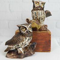 Vintage 1970's Homco Pair of Great Horned Owl Porcelain Figurines # 1114