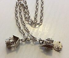 Vintage Solid Silver Chain With Two Silver Charms -Opening Church & Wishing Well