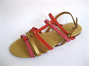 Spot On F0R699 Ladies Red Multi Flat Summer Sandals (R34B)(Kett)