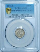 1872 S PCGS MS63 FS-302 MPD MM Below Misplaced Date Liberty Seated Half Dime