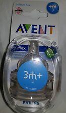 Avent Airflex Silicone Teats - Medium Flow 3 Hole 3mth+ BPA FREE