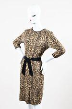 Giambattista Valli Leopard Print Long Sleeve Cashmere Wool Dress SZ L