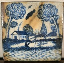 Antique Large Delft Tile Fisherman House Dutch English 18th 19th C Tin Glazed