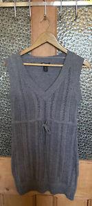 H & M  Mama Blue Grey Knitted Sleeveless Tunic Size M
