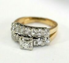 Vintage-Style 14K TWO-TONE GOLD, DIAMOND 2-Piece Wedding Ring/Band Set: SIZE 5