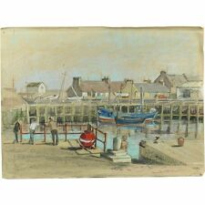 Unframed Unsigned Retro Pastel Landscape Summer Harbour Fishing Boat Drawing
