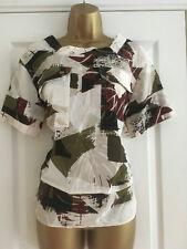 NEXT Neutral Print Short Sleeved Top Blouse Size 10